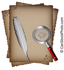 on a white background, there are three sheets of old paper, white writing pen and magnifying glass