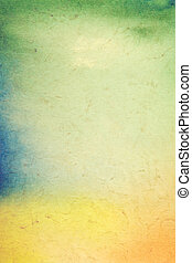 Old paper with abstract painting: textured background with green, blue, and orange patterns on yellow backdrop. For art texture, grunge design, and vintage paper / border frame