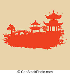 Old paper with asian landscape on vintage asian style grunge background, vector illustration