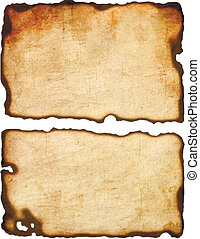 Old paper with burnt edges isolated on white background ...