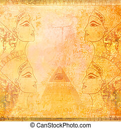 old paper with Egyptian queen and Ancient Pyramid Eye