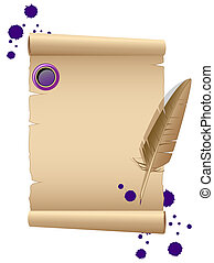 Blank old paper with feather. Vector illustration