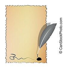 Old paper with feather, vector