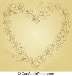 Old paper with floral heart