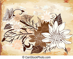old paper with flowers