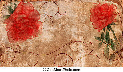 old paper with roses