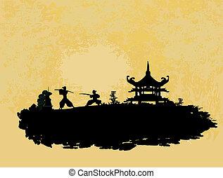 Samurai - old paper with Samurai silhouette