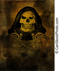 Old paper with skull - Old vintage paper with drawing skull...