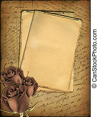 old paper with the hand-written text and a rose - Grunge...