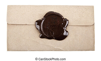Old paper with wax stamp
