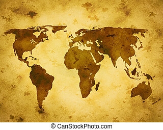old paper world map - Old paper texture background with...
