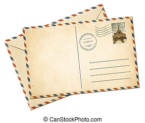 Old par avion postcard and envelope isolated