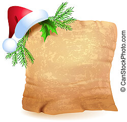 Old parchment and Christmas hat
