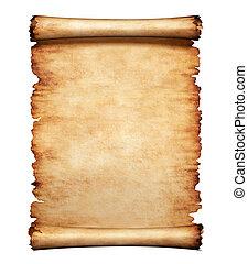 Old grungy piece of parchment paper. Antique manuscript letter background.