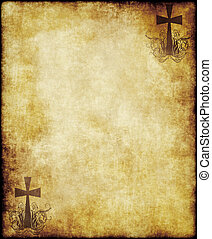 old parchment paper with cross