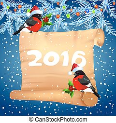 Old parchment with bullfinches in Santa Claus hat