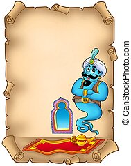 Old parchment with genie - color illustration.