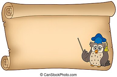 Old parchment with owl teacher - color illustration.