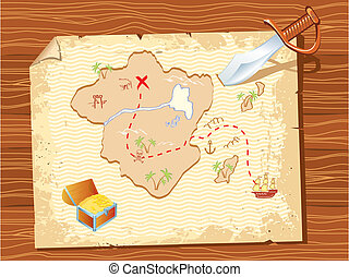 Old parchment with pirate map and dagger- vector...