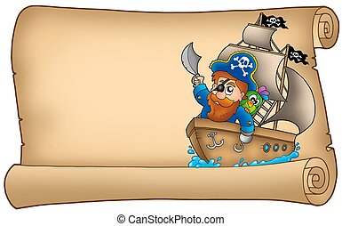 Old parchment with pirate sailing on ship - color...