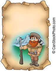 Old parchment with trapper - color illustration.