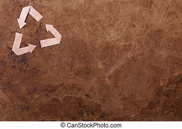 Old parer background with recycle sign - Old brown parer...