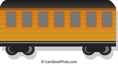 Old passenger wagon icon, cartoon style