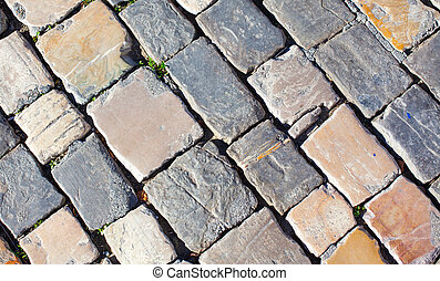Old paving slabs.