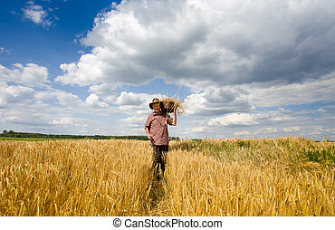 Old man with knitted basket on shoulder walking in barley field