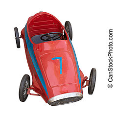 old pedal car for children - red vintage toy car, isolated...