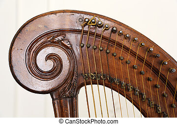 Old Pedal Harp - the head, the tuning pins and the strings ...
