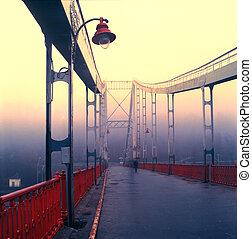 Old pedestrian bridge in Kiev