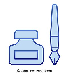 Old pen and ink can color icon. Fountain pen and jar symbol, gradient style pictogram on white background. Office or stationery item sign for mobile concept and web design. Vector graphics.