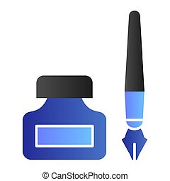 Old pen and ink can flat icon. Fountain pen and jar symbol, gradient style pictogram on white background. Office or stationery item sign for mobile concept and web design. Vector graphics.