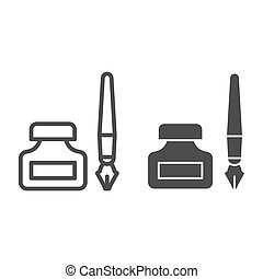 Old pen and ink can line and solid icon. Fountain pen and jar symbol, outline style pictogram on white background. Office or stationery item sign for mobile concept and web design. Vector graphics.