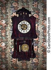 old pendulum clock in retro style