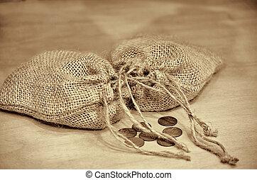 pennies with burlap bag