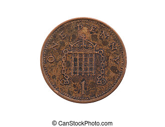 Old penny coin isolated