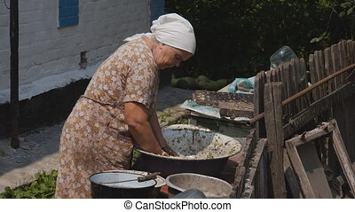 Old people are preparing food for the animals