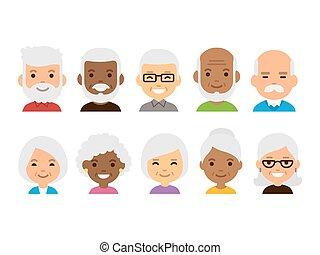 Old people avatars - Old people cartoon avatars set....