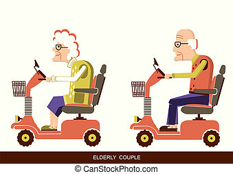 old people drive by mobility scooter - Pensioners old man...