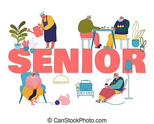 Old People Hobby and Leisure Fun Concept. Male and Female Seniors Spending Time in Nursing Home Listening Music, Playing Chess, Knitting Poster Banner Flyer Brochure. Cartoon Flat Vector Illustration