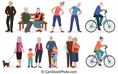 Old people in different activities situations collection. Grandparents couples set.