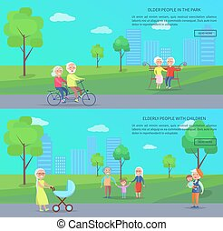 Old People in Park Vector Banner of Mature Couples