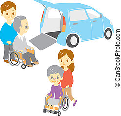 old people in wheelchair, drive and take a walk, Adapted...