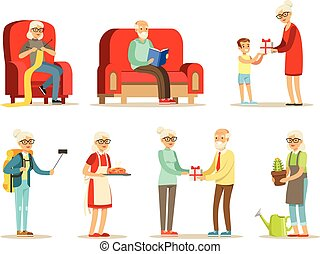 Old People Living Full Live And Enjoying Their Hobbies And Leisure Set Of Smiling Elderly Cartoon Characters. Happy Grandparents Scenes With Grandpa And Granma Having Fun.