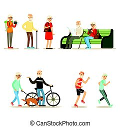 Old People Living Full Live And Enjoying Their Hobbies And Leisure Collection Of Smiling Elderly Cartoon Characters