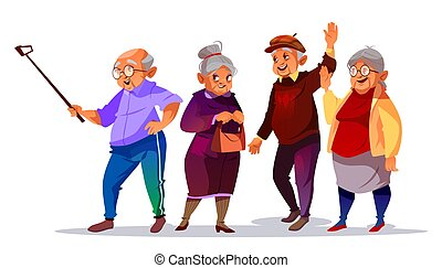 Old people making photo selfie vector illustration
