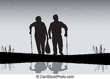 Old people on an evening walk