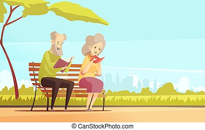 Old People Reading In Park